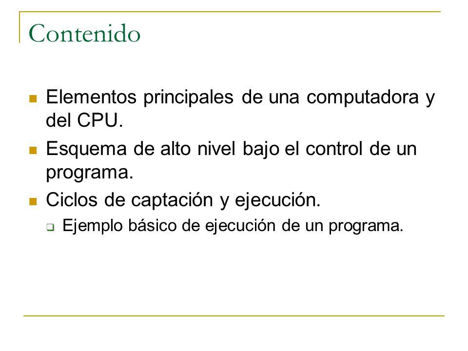 Elementos principales de una computadora y del CPU Elementos principales de una computadora Computadora MemoriaE/S Sistema de Buses CPU RegistrosALU Interconexión Interna del CPU CU Unidad de Procesamiento Central Elementos Principales Del CPU