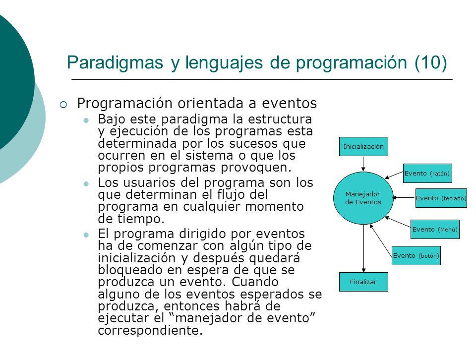 Paradigmas y lenguajes de programación (10) Programación orientada a eventos Bajo este paradigma la estructura y ejecución de los programas esta determinada por los sucesos que ocurren en el sistema o que los propios programas provoquen.