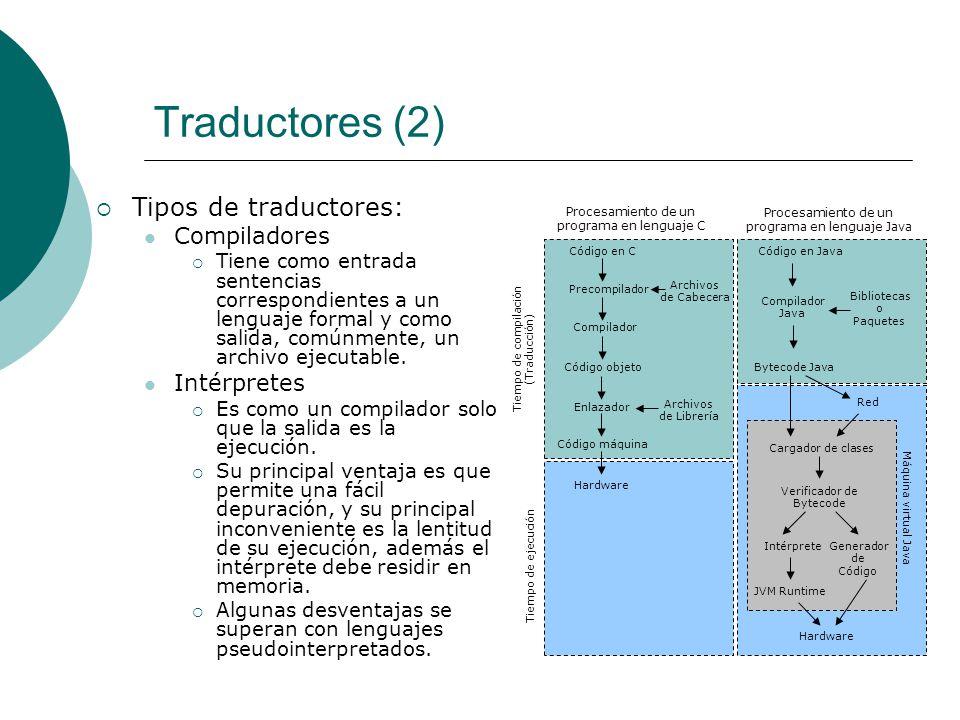 Traductores (2) Tipos de traductores: Compiladores Tiene como entrada sentencias correspondientes a un lenguaje formal y como salida, comúnmente, un archivo ejecutable.