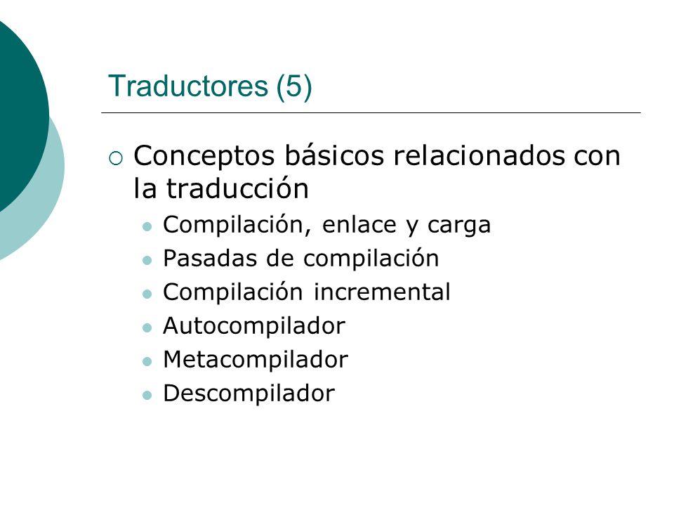 Traductores (5) Conceptos básicos relacionados con la traducción Compilación, enlace y carga Pasadas de compilación Compilación incremental Autocompilador Metacompilador Descompilador