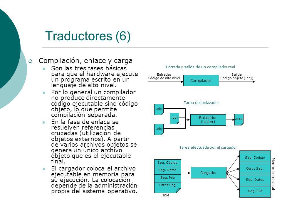 Traductores (6) Compilación, enlace y carga Son las tres fases básicas para que el hardware ejecute un programa escrito en un lenguaje de alto nivel.
