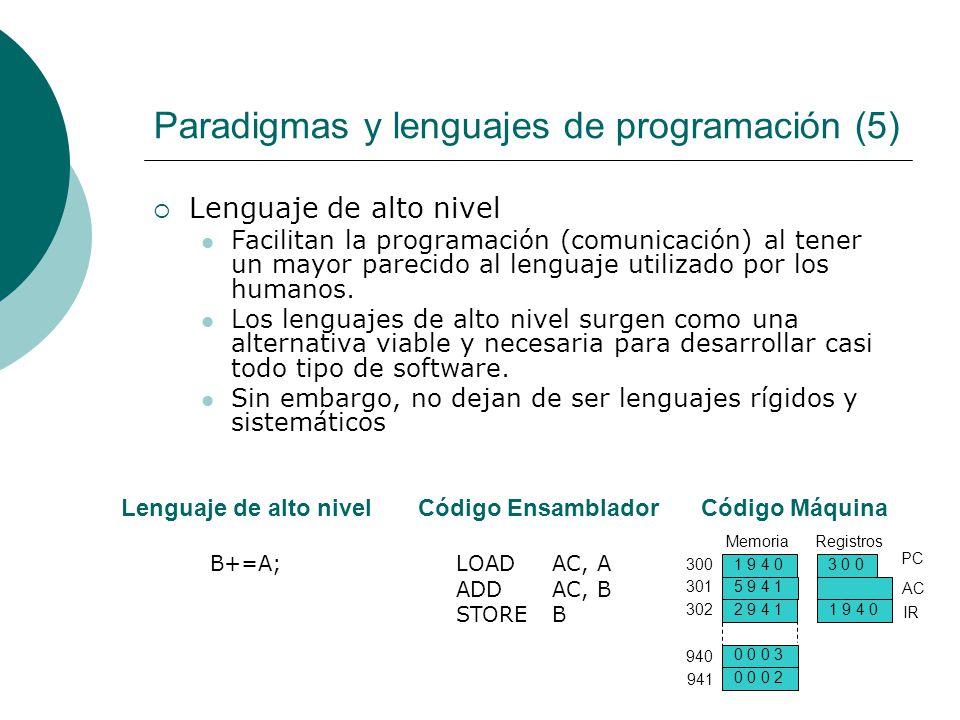 Paradigmas y lenguajes de programación (5) Lenguaje de alto nivel Facilitan la programación (comunicación) al tener un mayor parecido al lenguaje utilizado por los humanos.