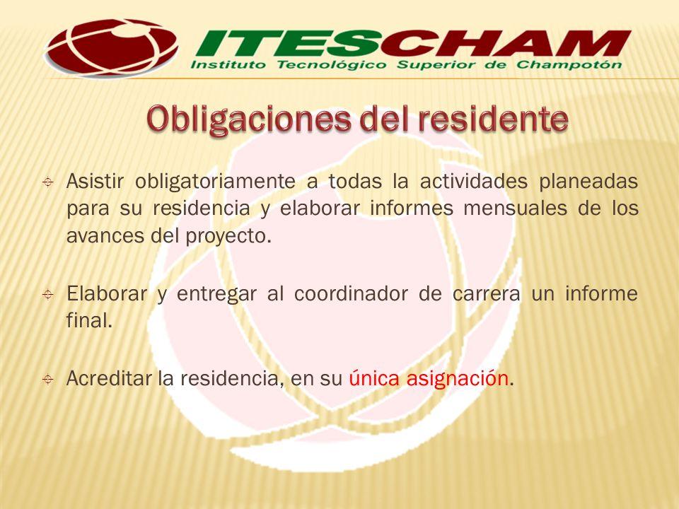 Asistir obligatoriamente a todas la actividades planeadas para su residencia y elaborar informes mensuales de los avances del proyecto. Elaborar y ent