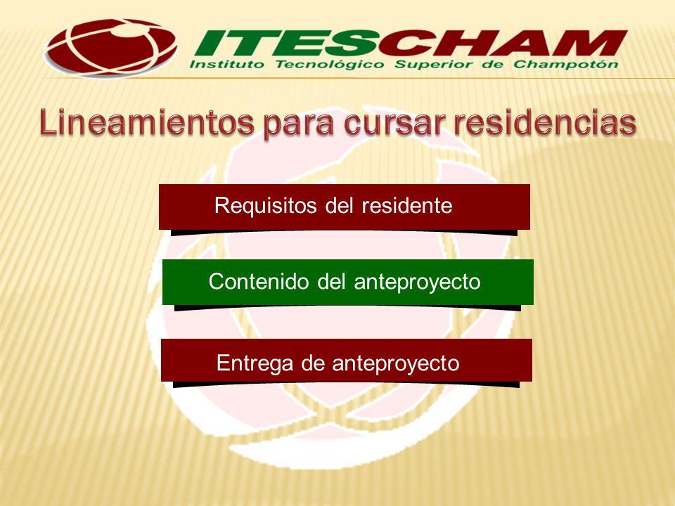 Obligaciones del residente Carga académica del residente Número de participantes Duración de la residencia profesional Cancelación del proyecto