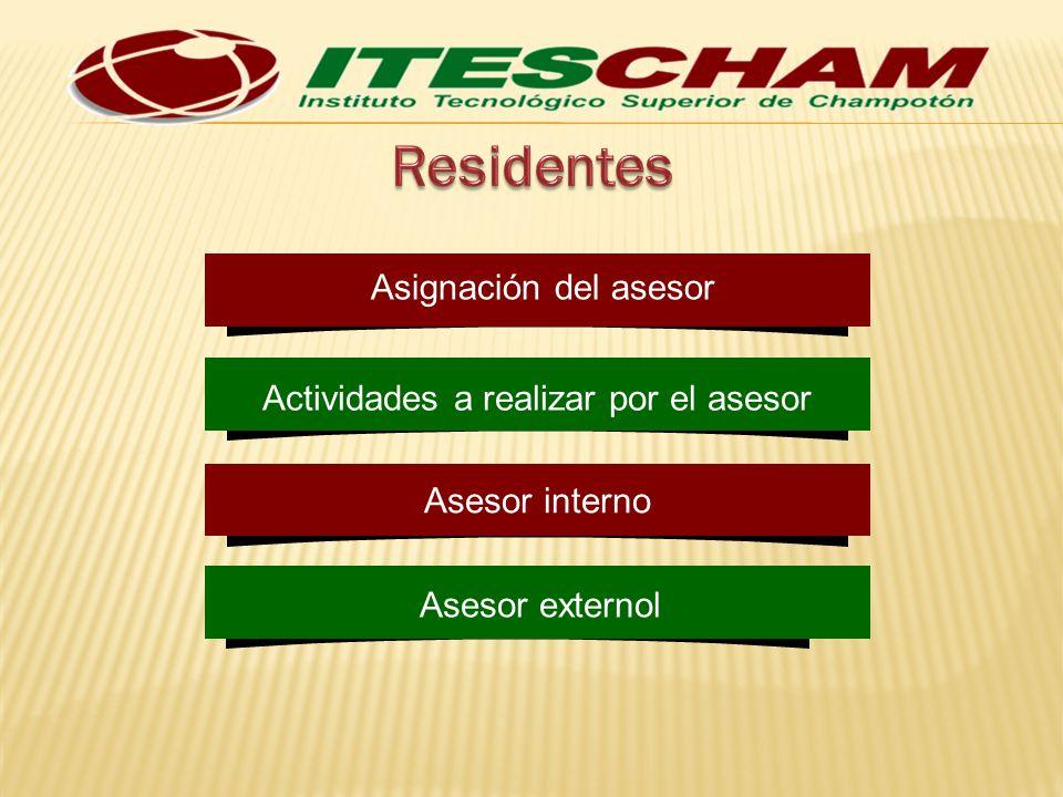 Asignación del asesor Actividades a realizar por el asesor Asesor interno Asesor externol