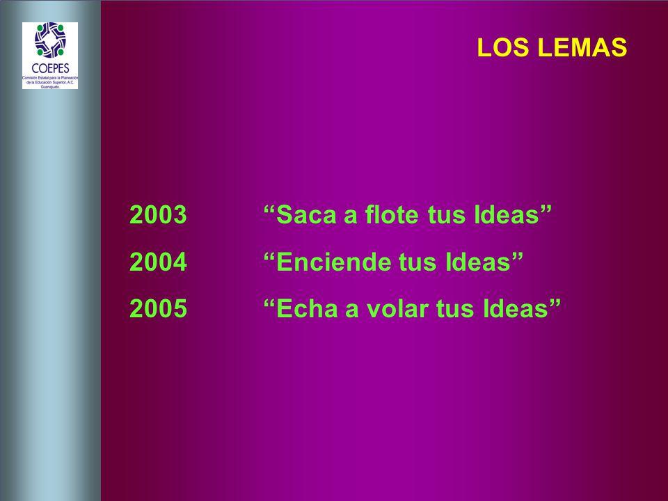 LOS LEMAS 2003 Saca a flote tus Ideas 2004 Enciende tus Ideas 2005 Echa a volar tus Ideas