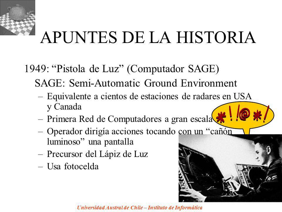 Universidad Austral de Chile – Instituto de Informática APUNTES DE LA HISTORIA 1949: Pistola de Luz (Computador SAGE) SAGE: Semi-Automatic Ground Envi