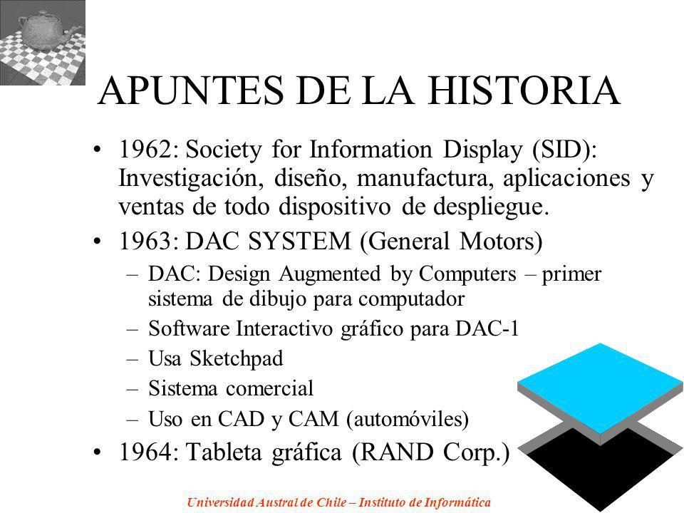 Universidad Austral de Chile – Instituto de Informática APUNTES DE LA HISTORIA 1962: Society for Information Display (SID): Investigación, diseño, manufactura, aplicaciones y ventas de todo dispositivo de despliegue.