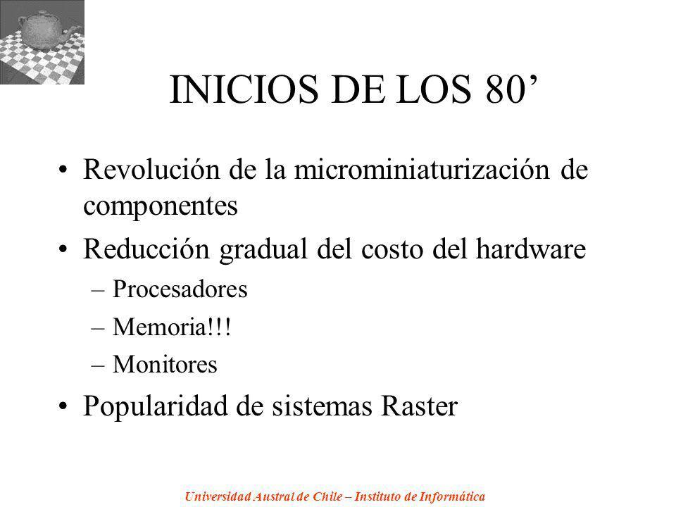 Universidad Austral de Chile – Instituto de Informática INICIOS DE LOS 80 Revolución de la microminiaturización de componentes Reducción gradual del costo del hardware –Procesadores –Memoria!!.