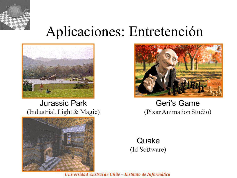 Universidad Austral de Chile – Instituto de Informática Aplicaciones: Entretención Jurassic Park (Industrial, Light & Magic) Geris Game (Pixar Animation Studio) Quake (Id Software)