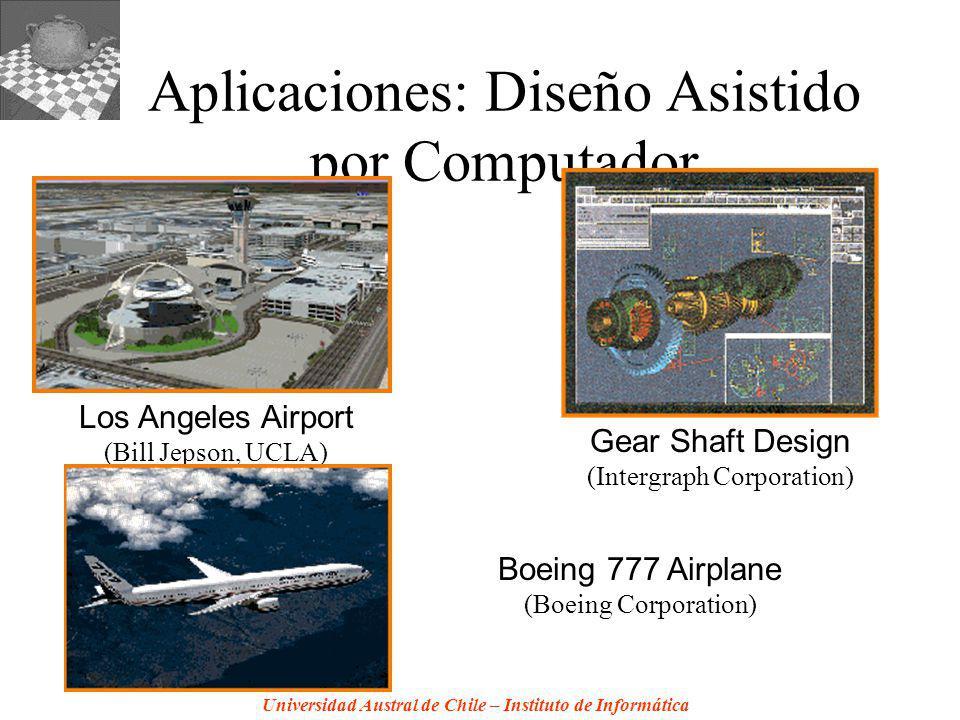 Universidad Austral de Chile – Instituto de Informática Aplicaciones: Diseño Asistido por Computador Los Angeles Airport (Bill Jepson, UCLA) Gear Shaft Design (Intergraph Corporation) Boeing 777 Airplane (Boeing Corporation)