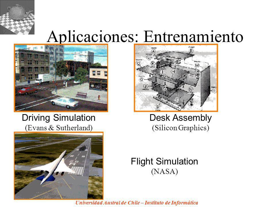 Universidad Austral de Chile – Instituto de Informática Aplicaciones: Entrenamiento Driving Simulation (Evans & Sutherland) Desk Assembly (Silicon Graphics) Flight Simulation (NASA)