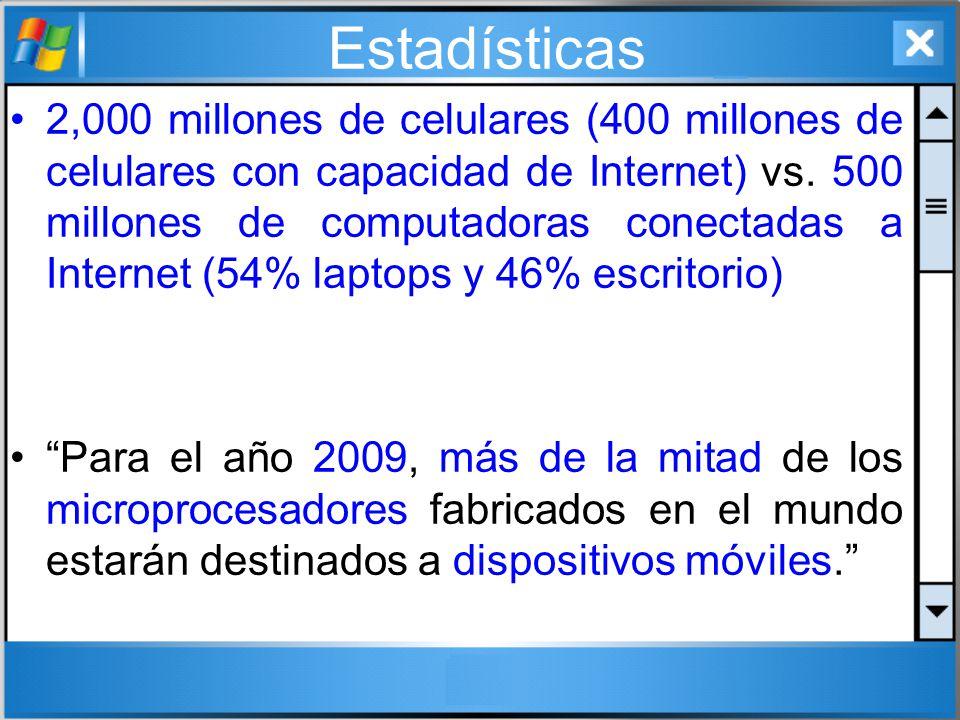 Estadísticas 2,000 millones de celulares (400 millones de celulares con capacidad de Internet) vs. 500 millones de computadoras conectadas a Internet