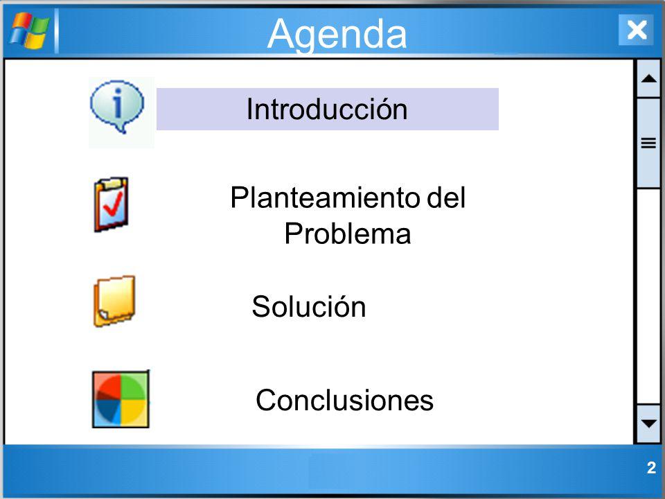 2 Agenda Introducción Solución Conclusiones Planteamiento del Problema