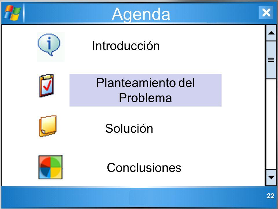 22 Agenda Introducción Solución Conclusiones Planteamiento del Problema