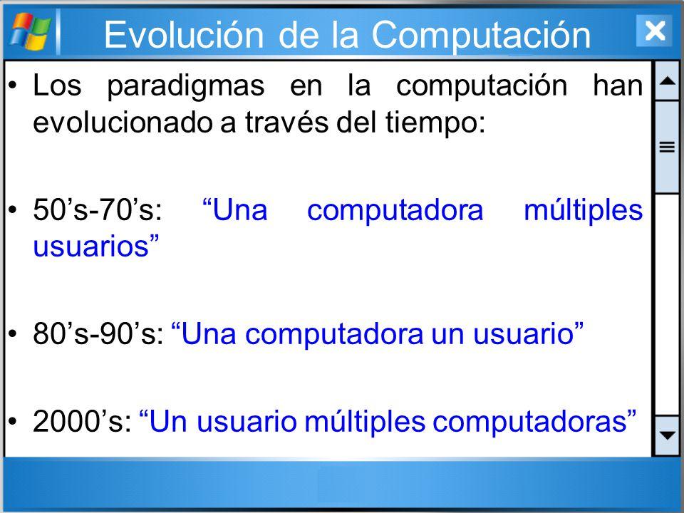 Evolución de la Computación Los paradigmas en la computación han evolucionado a través del tiempo: 50s-70s: Una computadora múltiples usuarios 80s-90s
