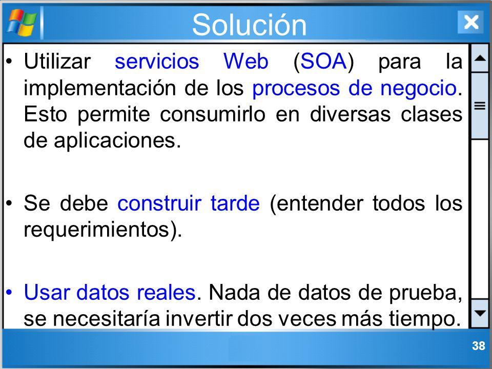 Solución Utilizar servicios Web (SOA) para la implementación de los procesos de negocio. Esto permite consumirlo en diversas clases de aplicaciones. S