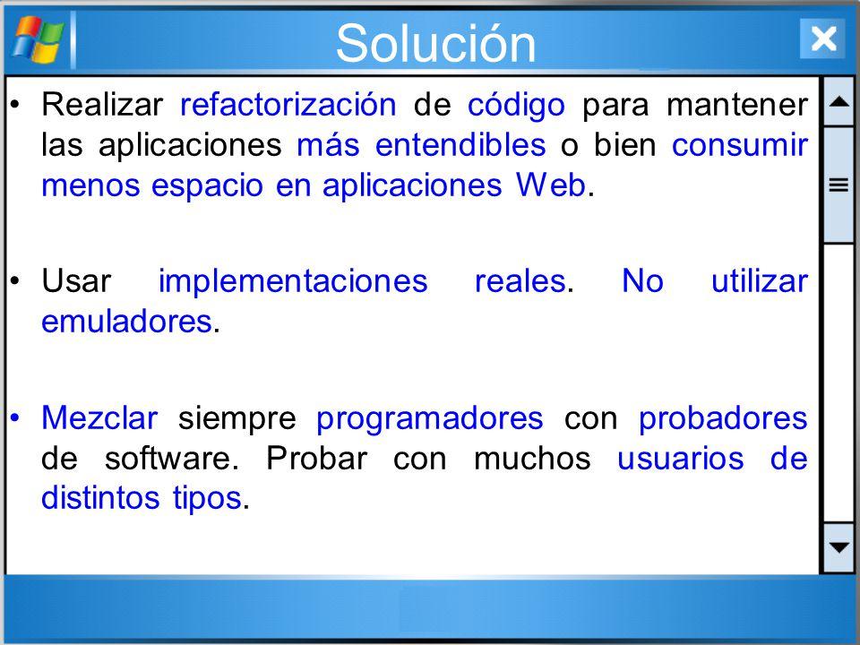 Solución Realizar refactorización de código para mantener las aplicaciones más entendibles o bien consumir menos espacio en aplicaciones Web. Usar imp