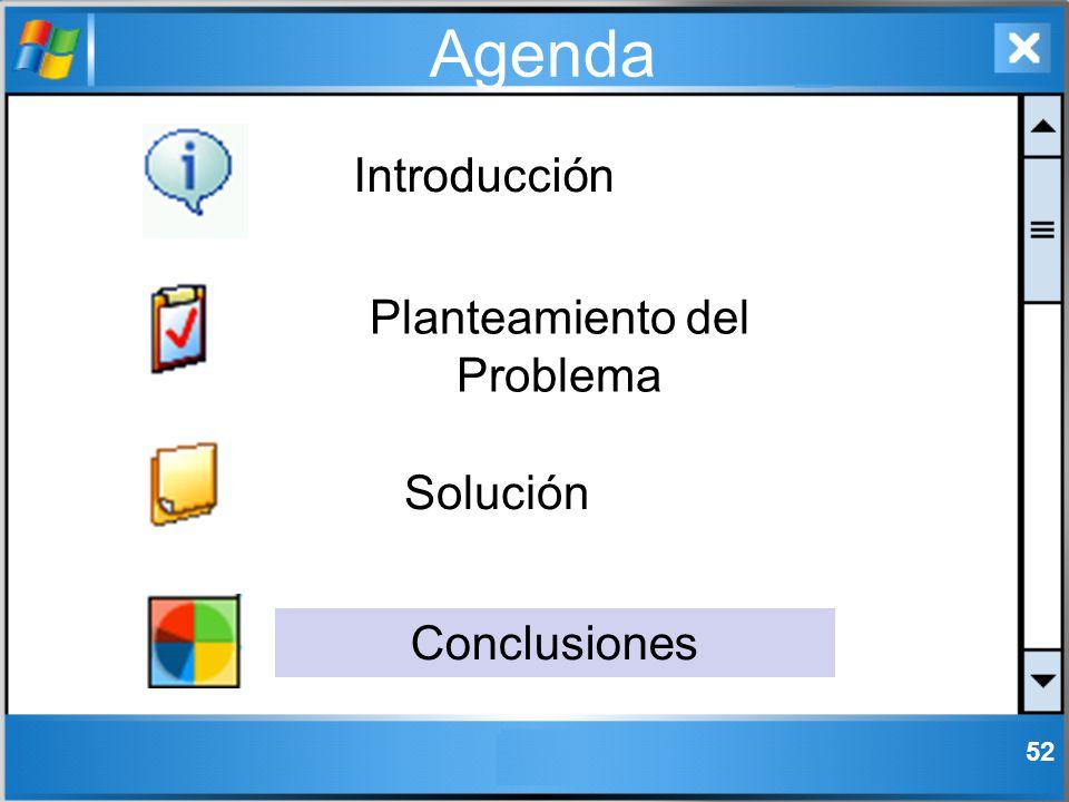 52 Agenda Introducción Solución Conclusiones Planteamiento del Problema