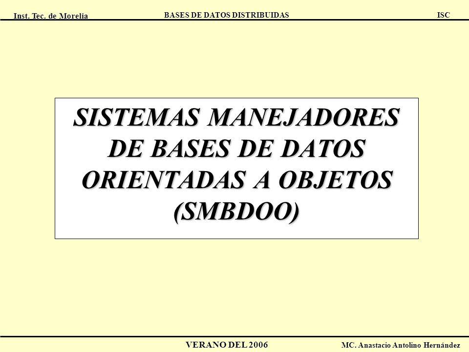 Inst. Tec. de Morelia ISC BASES DE DATOS DISTRIBUIDAS VERANO DEL 2006 MC. Anastacio Antolino Hernández SISTEMAS MANEJADORES DE BASES DE DATOS ORIENTAD
