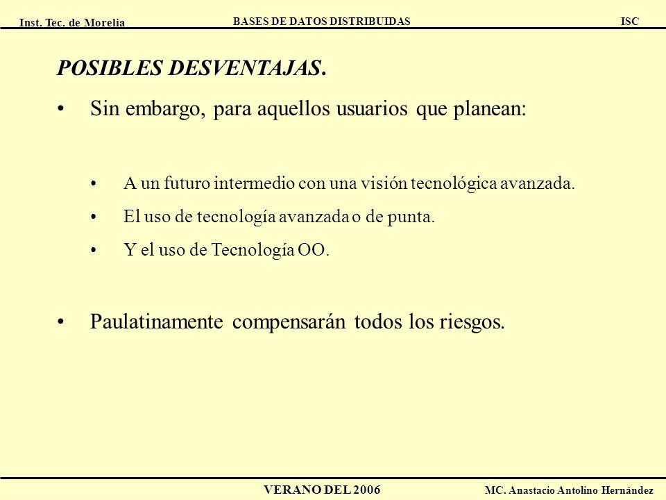 Inst. Tec. de Morelia ISC BASES DE DATOS DISTRIBUIDAS VERANO DEL 2006 MC. Anastacio Antolino Hernández POSIBLES DESVENTAJAS POSIBLES DESVENTAJAS. Sin