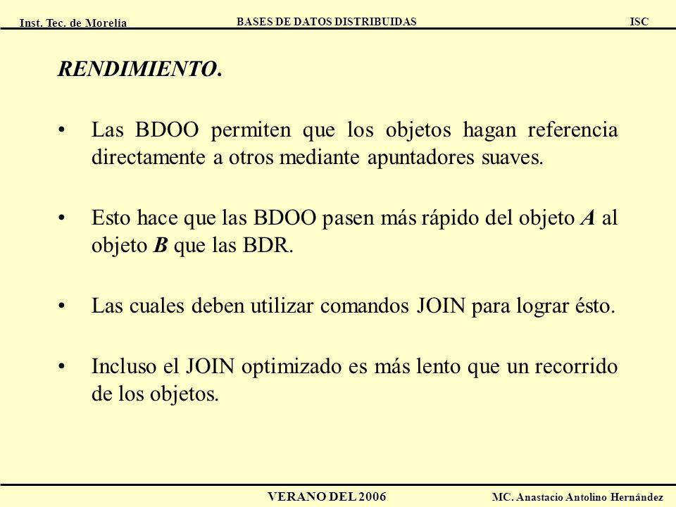 Inst. Tec. de Morelia ISC BASES DE DATOS DISTRIBUIDAS VERANO DEL 2006 MC. Anastacio Antolino Hernández RENDIMIENTO RENDIMIENTO. Las BDOO permiten que