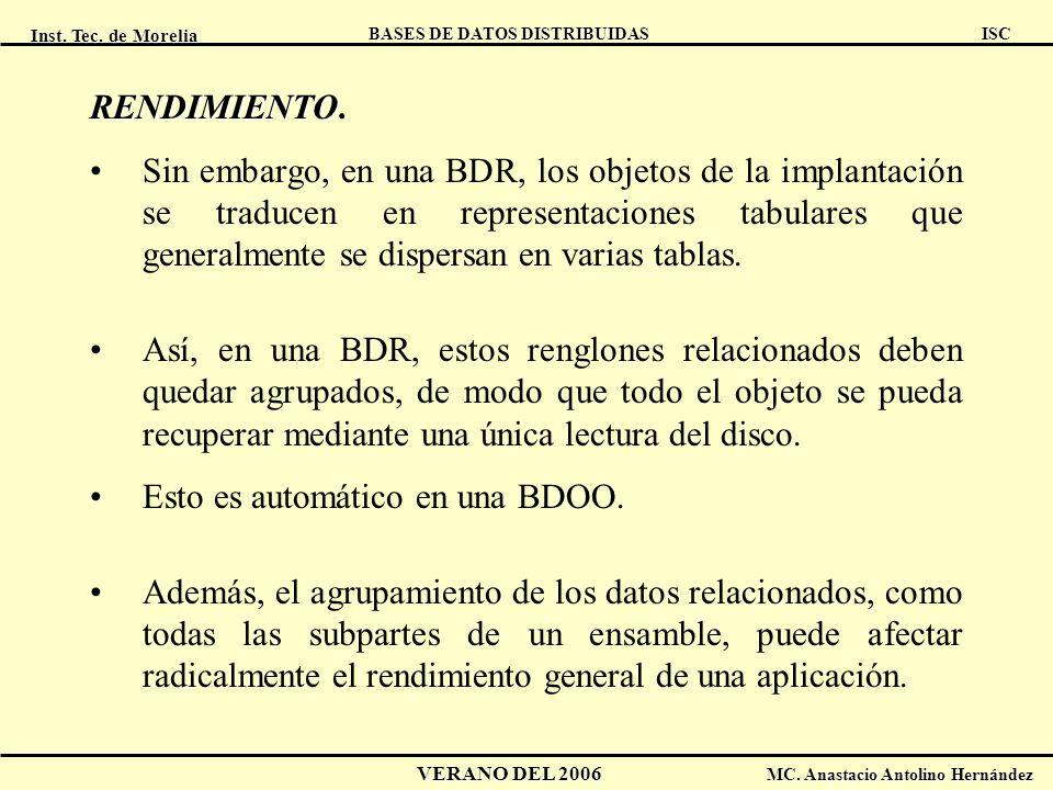 Inst. Tec. de Morelia ISC BASES DE DATOS DISTRIBUIDAS VERANO DEL 2006 MC. Anastacio Antolino Hernández RENDIMIENTO RENDIMIENTO. Sin embargo, en una BD