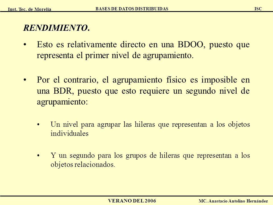 Inst. Tec. de Morelia ISC BASES DE DATOS DISTRIBUIDAS VERANO DEL 2006 MC. Anastacio Antolino Hernández RENDIMIENTO RENDIMIENTO. Esto es relativamente