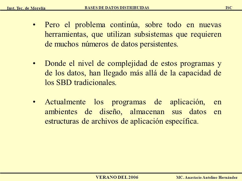 Inst. Tec. de Morelia ISC BASES DE DATOS DISTRIBUIDAS VERANO DEL 2006 MC. Anastacio Antolino Hernández Pero el problema continúa, sobre todo en nuevas