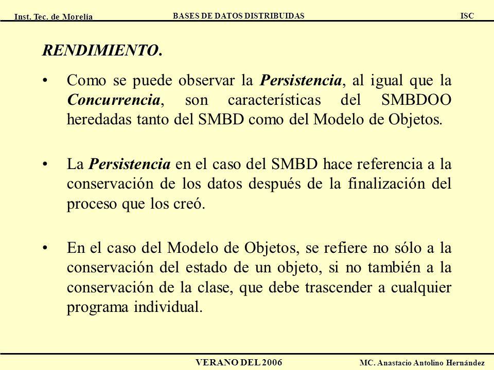 Inst. Tec. de Morelia ISC BASES DE DATOS DISTRIBUIDAS VERANO DEL 2006 MC. Anastacio Antolino Hernández RENDIMIENTO RENDIMIENTO. Como se puede observar