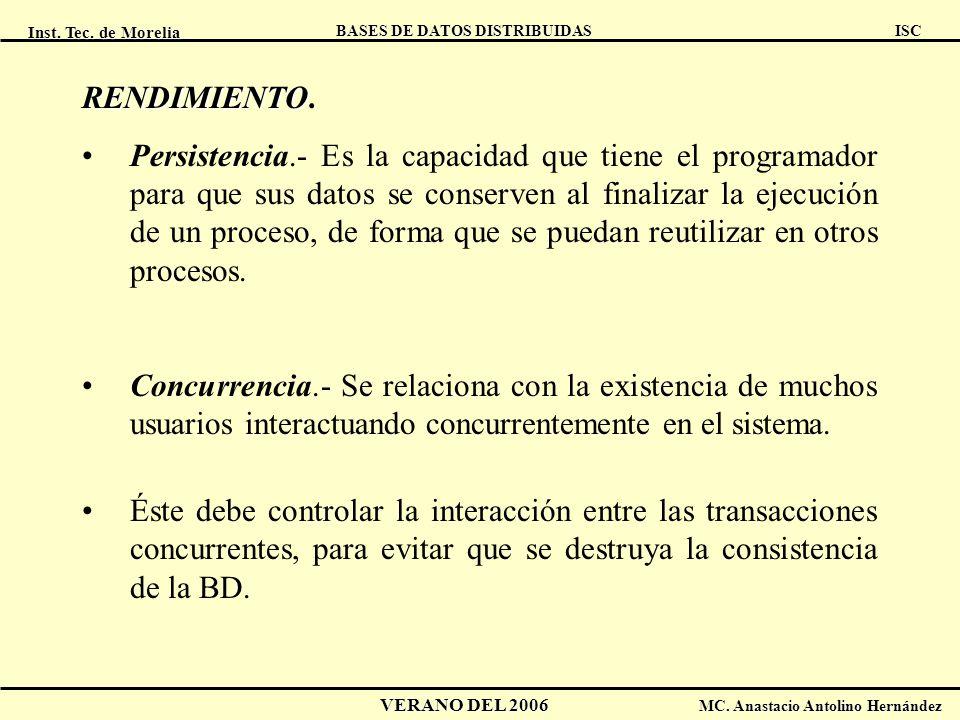 Inst. Tec. de Morelia ISC BASES DE DATOS DISTRIBUIDAS VERANO DEL 2006 MC. Anastacio Antolino Hernández RENDIMIENTO RENDIMIENTO. Persistencia.- Es la c