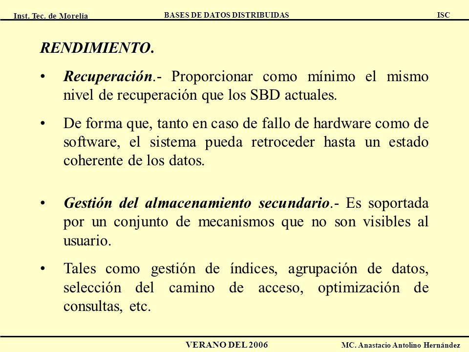 Inst. Tec. de Morelia ISC BASES DE DATOS DISTRIBUIDAS VERANO DEL 2006 MC. Anastacio Antolino Hernández RENDIMIENTO RENDIMIENTO. Recuperación.- Proporc