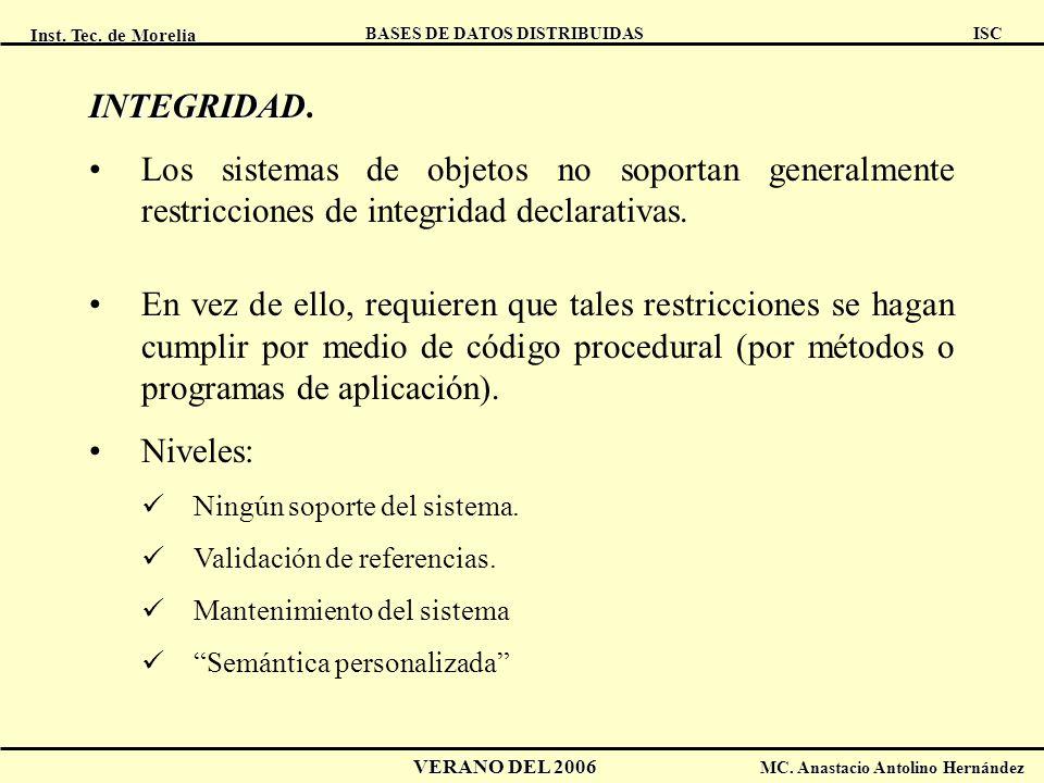 Inst. Tec. de Morelia ISC BASES DE DATOS DISTRIBUIDAS VERANO DEL 2006 MC. Anastacio Antolino Hernández INTEGRIDAD INTEGRIDAD. Los sistemas de objetos
