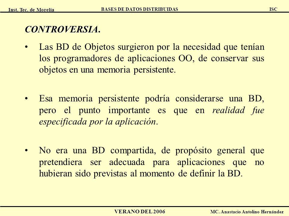 Inst. Tec. de Morelia ISC BASES DE DATOS DISTRIBUIDAS VERANO DEL 2006 MC. Anastacio Antolino Hernández CONTROVERSIA CONTROVERSIA. Las BD de Objetos su
