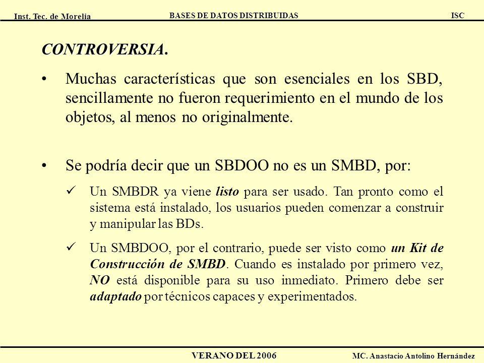 Inst. Tec. de Morelia ISC BASES DE DATOS DISTRIBUIDAS VERANO DEL 2006 MC. Anastacio Antolino Hernández CONTROVERSIA CONTROVERSIA. Muchas característic