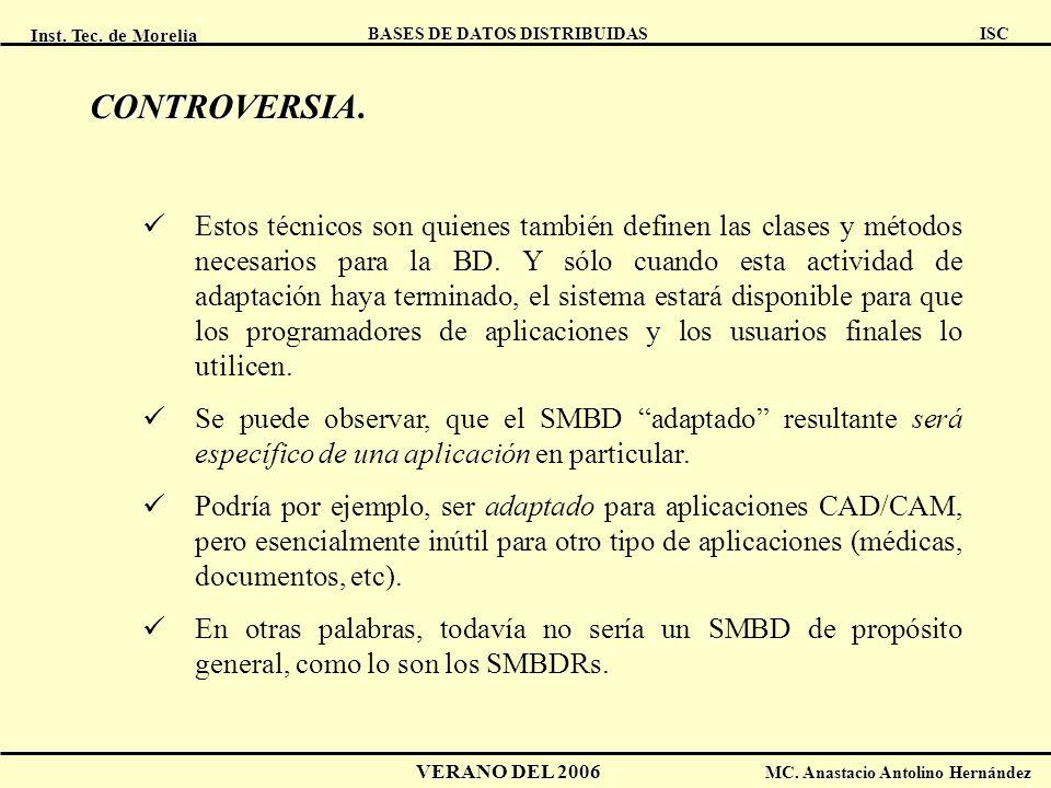 Inst. Tec. de Morelia ISC BASES DE DATOS DISTRIBUIDAS VERANO DEL 2006 MC. Anastacio Antolino Hernández CONTROVERSIA CONTROVERSIA. Estos técnicos son q
