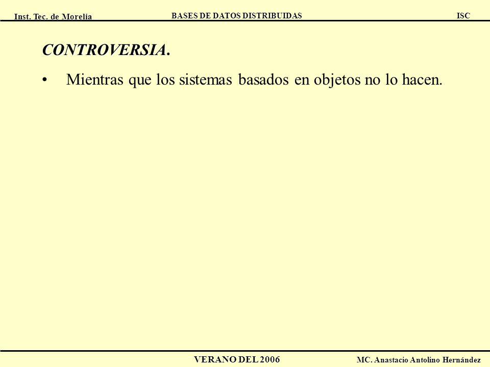 Inst. Tec. de Morelia ISC BASES DE DATOS DISTRIBUIDAS VERANO DEL 2006 MC. Anastacio Antolino Hernández CONTROVERSIA CONTROVERSIA. Mientras que los sis