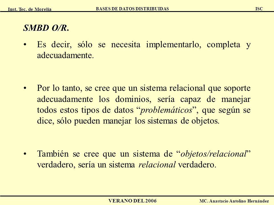 Inst. Tec. de Morelia ISC BASES DE DATOS DISTRIBUIDAS VERANO DEL 2006 MC. Anastacio Antolino Hernández SMBD O/R SMBD O/R. Es decir, sólo se necesita i
