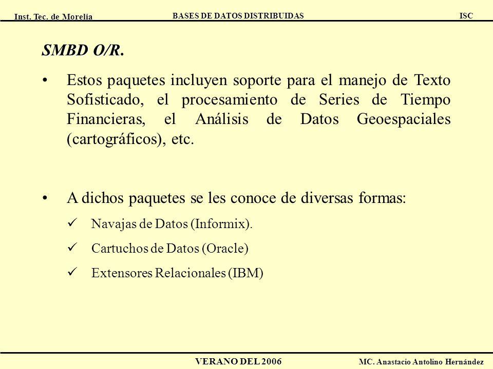 Inst. Tec. de Morelia ISC BASES DE DATOS DISTRIBUIDAS VERANO DEL 2006 MC. Anastacio Antolino Hernández SMBD O/R SMBD O/R. Estos paquetes incluyen sopo