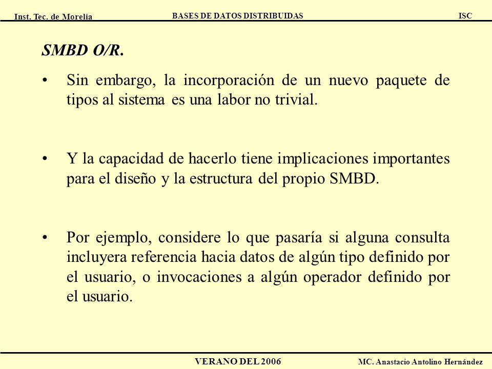 Inst. Tec. de Morelia ISC BASES DE DATOS DISTRIBUIDAS VERANO DEL 2006 MC. Anastacio Antolino Hernández SMBD O/R SMBD O/R. Sin embargo, la incorporació