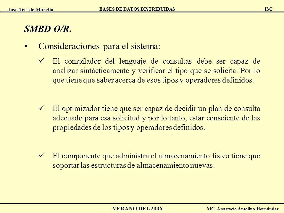 Inst. Tec. de Morelia ISC BASES DE DATOS DISTRIBUIDAS VERANO DEL 2006 MC. Anastacio Antolino Hernández SMBD O/R SMBD O/R. Consideraciones para el sist