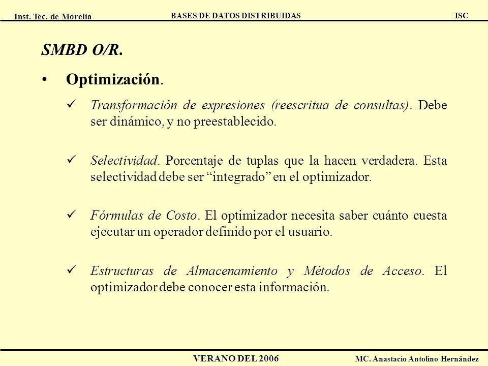 Inst. Tec. de Morelia ISC BASES DE DATOS DISTRIBUIDAS VERANO DEL 2006 MC. Anastacio Antolino Hernández SMBD O/R SMBD O/R. Optimización. Transformación