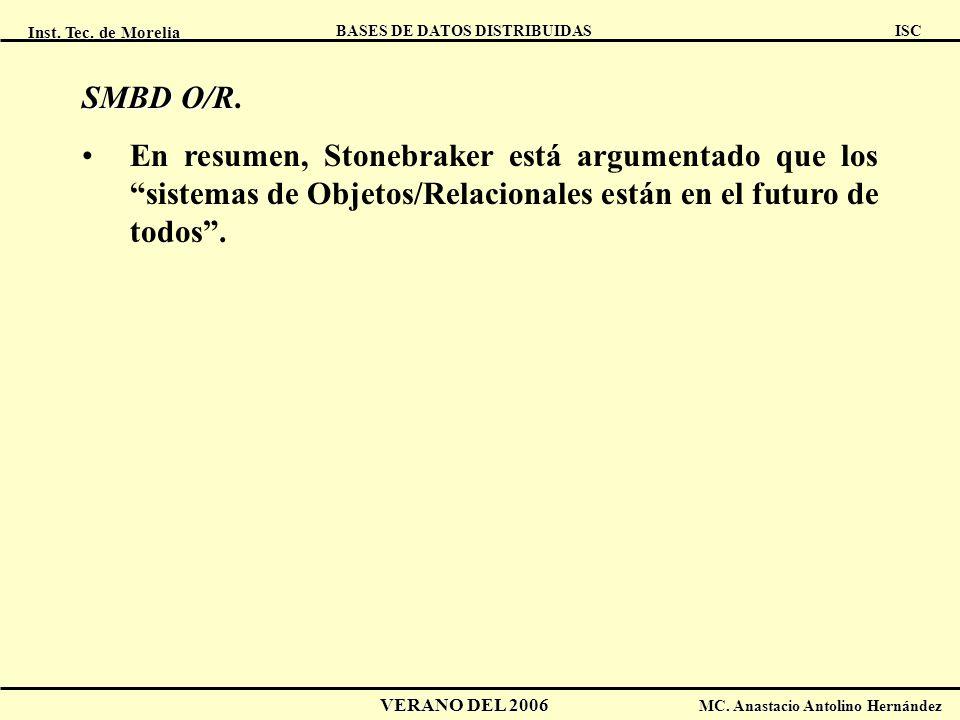 Inst. Tec. de Morelia ISC BASES DE DATOS DISTRIBUIDAS VERANO DEL 2006 MC. Anastacio Antolino Hernández SMBD O/R SMBD O/R. En resumen, Stonebraker está