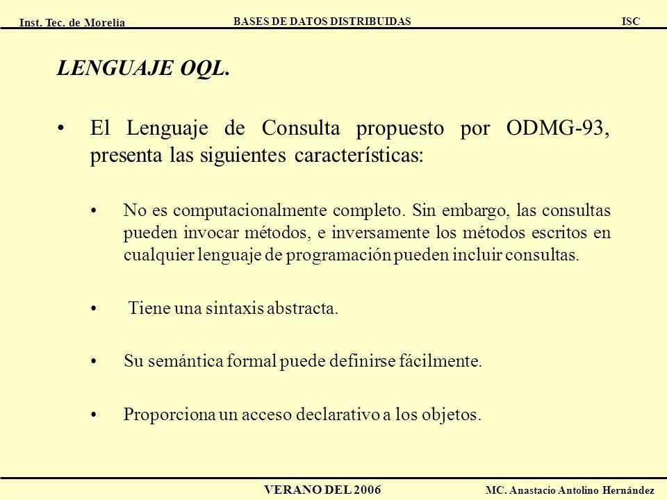 Inst. Tec. de Morelia ISC BASES DE DATOS DISTRIBUIDAS VERANO DEL 2006 MC. Anastacio Antolino Hernández LENGUAJE OQL. El Lenguaje de Consulta propuesto