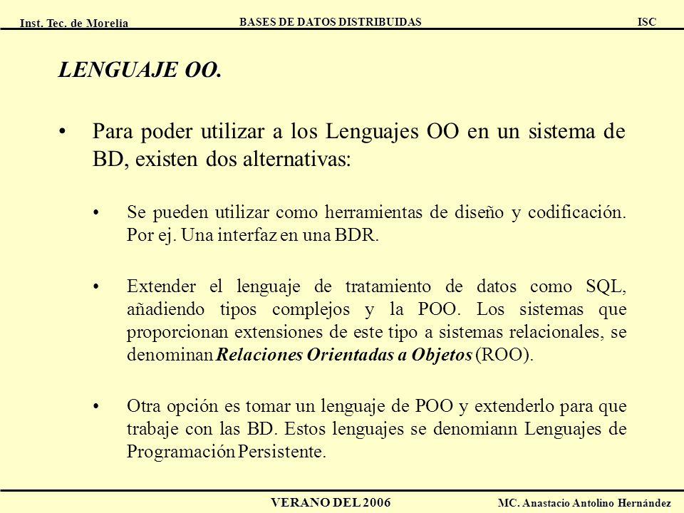 Inst. Tec. de Morelia ISC BASES DE DATOS DISTRIBUIDAS VERANO DEL 2006 MC. Anastacio Antolino Hernández LENGUAJE OO. Para poder utilizar a los Lenguaje