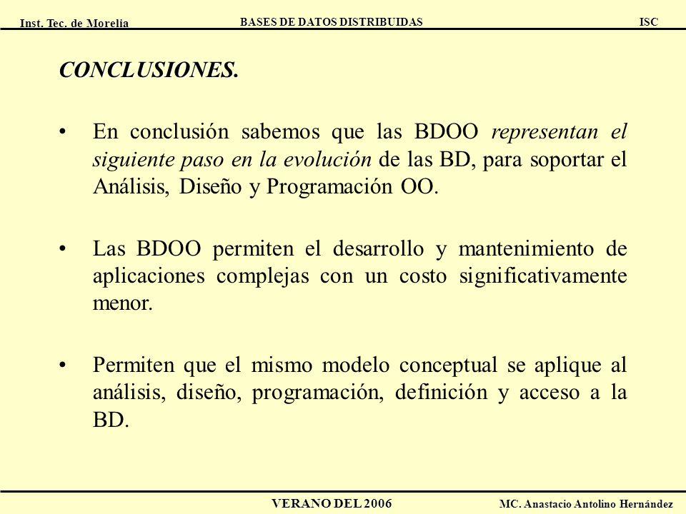 Inst. Tec. de Morelia ISC BASES DE DATOS DISTRIBUIDAS VERANO DEL 2006 MC. Anastacio Antolino Hernández CONCLUSIONES. En conclusión sabemos que las BDO