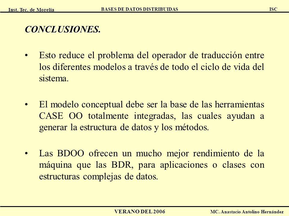 Inst. Tec. de Morelia ISC BASES DE DATOS DISTRIBUIDAS VERANO DEL 2006 MC. Anastacio Antolino Hernández CONCLUSIONES. Esto reduce el problema del opera
