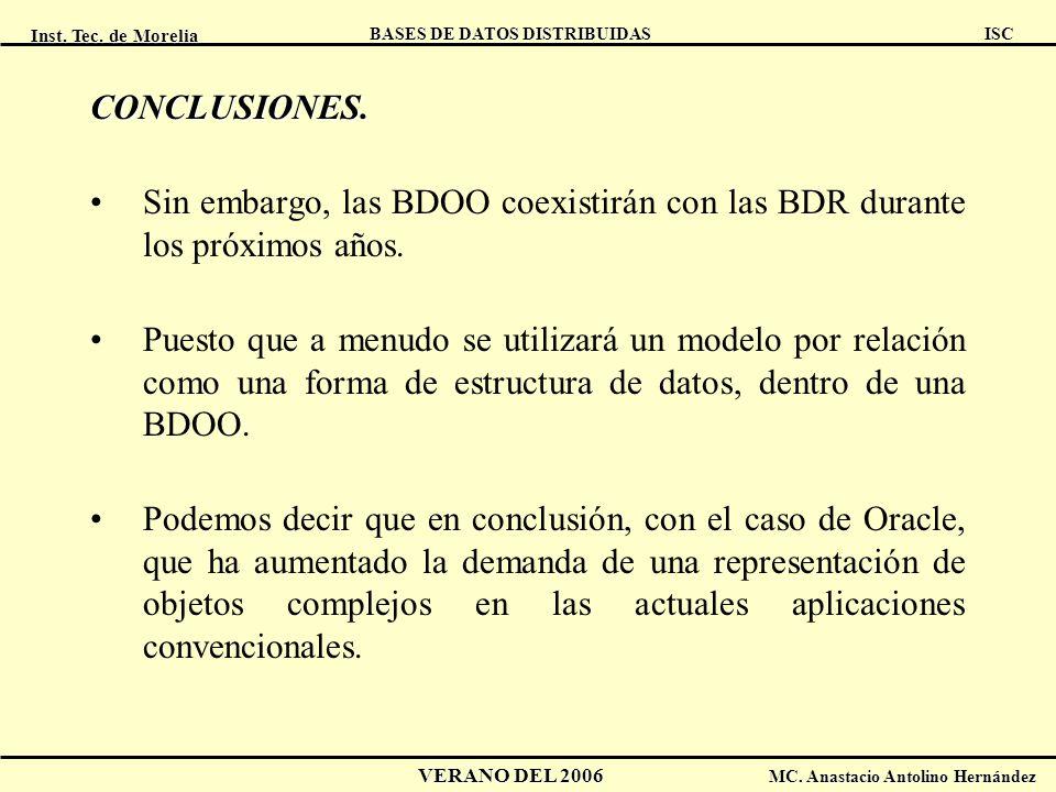 Inst. Tec. de Morelia ISC BASES DE DATOS DISTRIBUIDAS VERANO DEL 2006 MC. Anastacio Antolino Hernández CONCLUSIONES. Sin embargo, las BDOO coexistirán