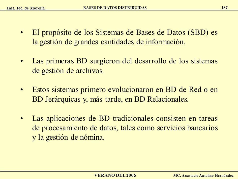 Inst. Tec. de Morelia ISC BASES DE DATOS DISTRIBUIDAS VERANO DEL 2006 MC. Anastacio Antolino Hernández El propósito de los Sistemas de Bases de Datos