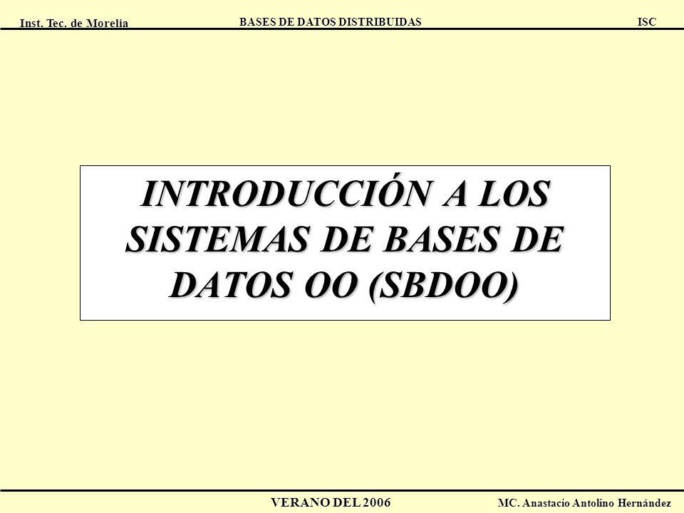Inst. Tec. de Morelia ISC BASES DE DATOS DISTRIBUIDAS VERANO DEL 2006 MC. Anastacio Antolino Hernández INTRODUCCIÓN A LOS SISTEMAS DE BASES DE DATOS O